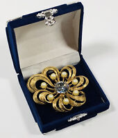 Vintage Hollywood Brooch Gold Tone Flower Set With Faux Pearls & Blue Crystal