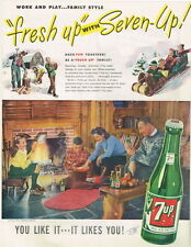 Original 1946 7up Popcorn over an open fire ad 10½ x 14 inches tavern trove