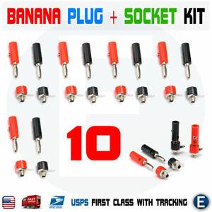 10 sets Male + Female 4mm Banana Plug + Socket Screw Connector J072 Audio