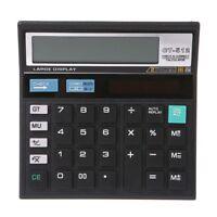 Wide 12 Digit Desk Calculator Jumbo Large Buttons Solar Desktop Battery Power