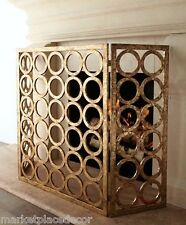 "Italian Gold Iron Circles Fireplace Fire Screen Modern Contemporary 50""W"