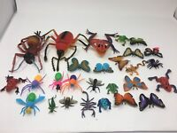 1990s Mixed Lot Insect Frog Spider Butterfly Plastic Rubber Animal Toys Vintage