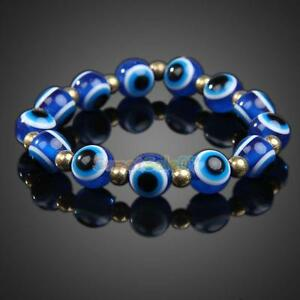 Evil Eye Bead Bracelet Blue Stretch Good Luck Protection Eyeballs Glass Lampwork