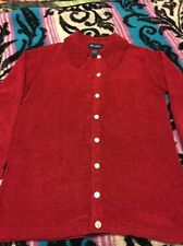 Denim & Co. Ladies Button Up Red Sweater