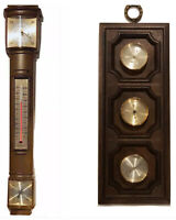 Two Vintage Springfield Barometer Weather Stations One Super Thin Streamlined