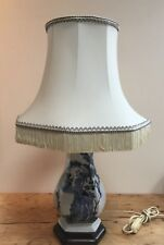"""PRELOVED  BLUE WILLOW STYLE CERAMIC TABLE LAMP (14"""" TALL ) WITH ORIGINAL SHADE"""