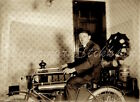 1910+era+GLASS+photo+Negative+early+MOTORCYCLE+in+HOME+says+Motor+Works+on+TANK