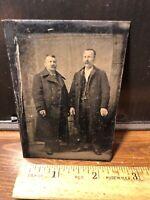 Antique Vintage Civil War Era 2 Men Mustaches Tintype Tin Type Photo Photograph