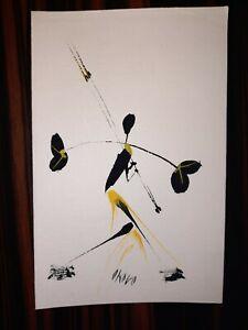 1950s Congo West Africa Original Watercolour Gouache painting card signed Okovo