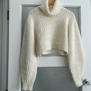 AJE Cream Wool Blend Cropped Puff Sleeve Knit Jumper As New M