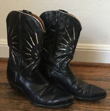 Vintage ACME Cowboy Boots Black leather gold inlay stitching 1950 60s PEEWEE Sz6