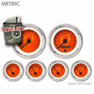Gauge Face Set Classic Retro Metric Ghost Flame Red, Black Needles Chrome Rings