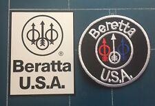 """BERETTA U.S.A. 3"""" IRON ON GUN  PATCH & BERETTA U.S.A. Magnetic Sign"""