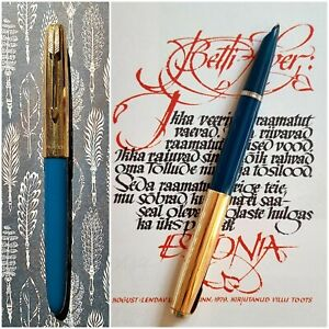 Vintage Parker 51 Fountain Pen in Teal and Gold Filled Cap 14ct Medium Nib Great