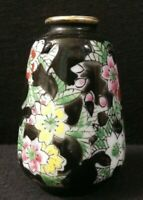 Vintage Enesco Black Mini Vase Red Pink Yellow White Floral Made in Japan 2.5""