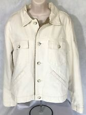 Banana Republic Womens White Denim Jacket with double-lure tan lining Sz L