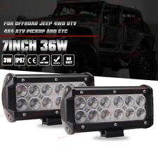 "2x 7INCH 36W LED WORK LIGHT BAR OFFROAD ATV FOG TRUCK LAMP 4WD SUV 12V 6"" FLOOD"