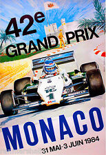 1984 42th Monaco Grand Prix Automobile Race Car Advertisement Vintage Poster