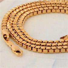 Cool Long Necklace Yellow Gold Filled Womens Box Chain 24 Inch fashion jewelry