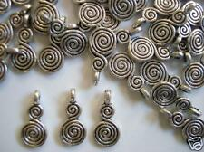 20 Double Swirl Design Silver Plated Charm Pendant/bow/tag/beading/bead K45