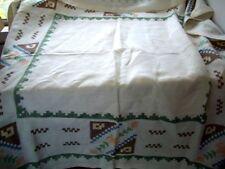 "Vintage RETRO Cream linen table cloth hand sewn embroidery 48"" square"
