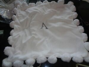 "Pottery Barn Teen Pom Pom pillow cover 16"" white monogrammed A  New"