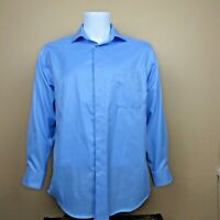Pronto Uomo Mens Dress Shirt Long Sleeve Blue Cotton Shirt 16 32/33