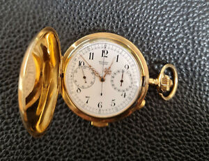 MOVADO Surete Minuten-Repetition minute repeater pocket watch Chrono 750 Gold