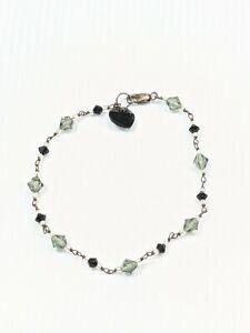 Artisan Sterling Silver 925 Black Gray Glass Bead Heart Charm Bracelet 8 Inches