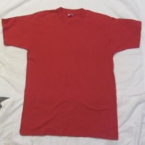 Vintage RED Tee T Shirt Womans Fruit of the Loom Sz Medium 1980s/90s Cotton