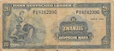 Germany 20 Deutsche Mark series of 1949  P 17 circulated Banknote , G. 1C