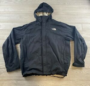 Mens The North Face Large Black windbreaker zip-Up Jacket hooded Rain jacket