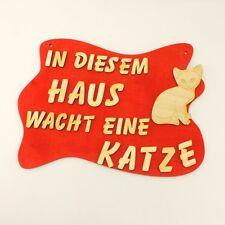 Türschild mit Spruch für Katzenfreunde Katze Holzschild, Wandschild Geschenk rot