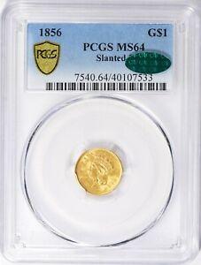 1856 PCGS CAC MS64 Gold Dollar Liberty Princess Lrg Head PreCivil War Green Bean