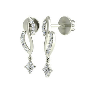 Crystal Clear White Cubic Zirconia With Pure 10K White Gold Drop-Dangle Earrings
