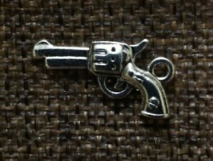 Pistol Gun Handgun Roses Charm Sterling Silver Plated Dangle Charm Bracelet Loop