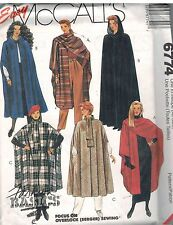 6774 UNCUT Vintage McCalls Sewing Pattern Misses Straight Capes Frog Closure HTF
