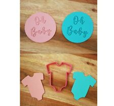 SUPER CUTE Baby Shower Bodysuit 'Oh Baby' Fondant / Cookie & Stamp Set