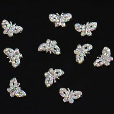 Butterfly Beads 10 pieces Silver 3D Alloy Nail Art Slices Glitters DIY Deco Y5K3