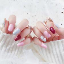 24x acrylic designer fake nail tips french full false nails art fingernail S&FO