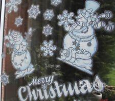 Christmas Window Cling Sticker Snowmen Snowflakes Silver Edge Shop Home Decor