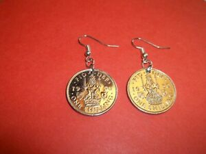 SHILLING COIN DROP SILVER EAR RINGS - SCOTTISH LION - 1947 to 1966