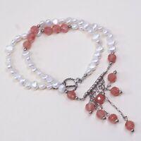 "19"", Vtg 925 Sterling Silver Pink Rose Quartz Pearl Beads W/ Fringe Pendant"