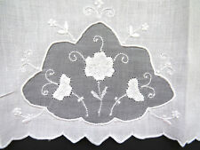 Vintage White Fine Linen Madeira Organdy Hand Towels Set of 4 Embroidered Roses
