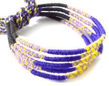 Lot 5 Bracelets Brésiliens de l'Amitié Macramé coton Friendship bleu noir jaune
