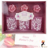 6 Pcs Mother's Day Glass Candle Holder Rose Flower Embossed Tea Lights Gift Set