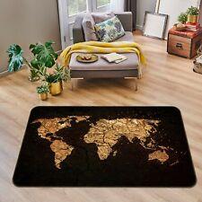 3D Black Gold P560 World Map Non Slip Rug Mat Elegant Photo Carpet Kay