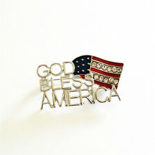 US Red White Blue USA Patriotic God Bless America Flag Rhinestone  Pin  Brooch