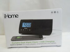 NEW iHome iHM46BXC Portable USB Charging Dual Alarm Clock Speaker System (C1)
