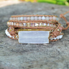 Raw Natural Selenite Crystal Energy Unisex Creative 5 Wrap Leather Bracelet Gold